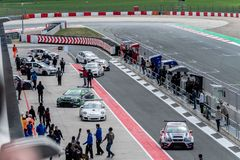 LOS ARCOS, SPAIN - 6 APRIL 2019: Championship of tourisms, resistance and F4 on a Circuit of Navarra royalty free stock photography