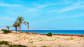 Los Arenales del Sol beach. Alicante province, Costa Blanca. Spain stock photos