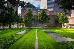 Los argumentos conmemorativos del 11 de septiembre en el Lower Manhattan, Nueva York Imágenes de archivo libres de regalías