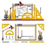 Los arquitectos y el lugar de trabajo del diseñador vector el ejemplo en estilo plano Herramientas de dibujo, tablero, instrument Fotografía de archivo libre de regalías