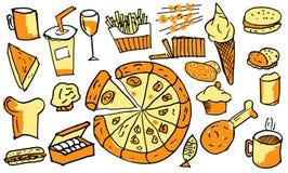 Los artículos de Junk Food ESTÁN DIBUJANDO EN EL TRABAJO Fotografía de archivo libre de regalías