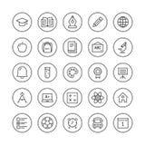 Los artículos de la educación enrarecen la línea iconos Fotos de archivo