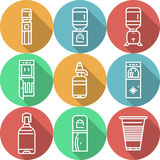 Los artículos para los refrigeradores de agua colorearon iconos Foto de archivo