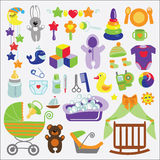 Los artículos recién nacidos del bebé fijaron la colección Ducha de bebé Imagenes de archivo