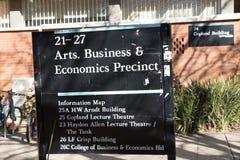 Los artes de ANU, el negocio y el precint de la economía firman Imagen de archivo libre de regalías