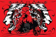 El cráneo canta y tatúa Fotografía de archivo libre de regalías