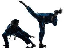 Los artes marciales del vietvodao del karate sirven la silueta de los pares de la mujer Fotos de archivo