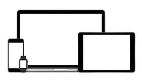 Los artilugios de Apple fijaron con el reloj de Apple del iPhone del iPad de MacBook Imagen de archivo libre de regalías