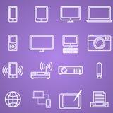 Los artilugios y los iconos de la tecnología fijaron, estilo linear Fotos de archivo
