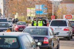Los ataques de Francia París - confine la vigilancia con Alemania Imagenes de archivo