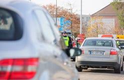 Los ataques de Francia París - confine la vigilancia con Alemania Imágenes de archivo libres de regalías