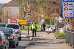 Los ataques de Francia París - confine la vigilancia con Alemania Imagen de archivo
