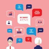 Los avatares sociales de la gente del concepto de la red con discurso burbujean Fotografía de archivo