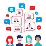 Los avatares sociales de la gente del concepto de la red con discurso burbujean Imagen de archivo libre de regalías