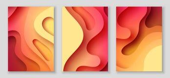 Los aviadores verticales A4 con el fondo del extracto 3D con el papel cortaron ondas rojas Disposición de diseño del vector ilustración del vector