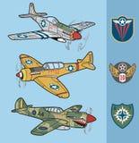 Los aviones de combate de la Segunda Guerra Mundial del vintage fijaron 1 ilustración del vector