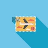 Los aviones sellan el icono plano con la sombra larga stock de ilustración