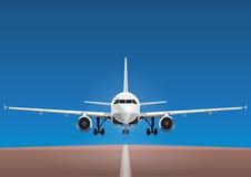 Los aviones vector, avión del despegue contra la perspectiva del cielo azul y la pista Fotografía de archivo libre de regalías