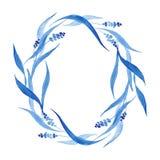 Los azules añiles dan la guirnalda exhausta, ejemplo del vector Imagen de archivo libre de regalías
