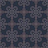 Los azules marinos tejan el modelo inconsútil del vector del damasco, ejemplo exhausto del ornamento floral de la mano stock de ilustración