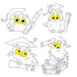 Los búhos de la historieta fijaron aislado en el fondo blanco, ejemplo Imagenes de archivo
