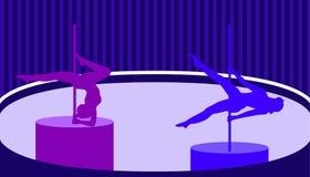 Los bailarines de poste en polo bailan estilo plano del estudio Ilustración del vector stock de ilustración