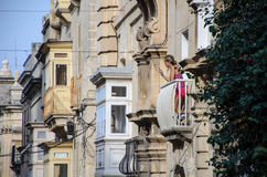 Los balcones de La Valeta Imagen de archivo