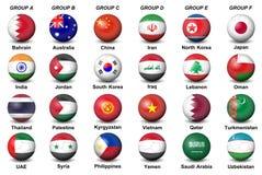 Los balones de fútbol señalan la taza asiática 2019 del AFC por medio de una bandera del fútbol final del torneo de los países UA Imágenes de archivo libres de regalías