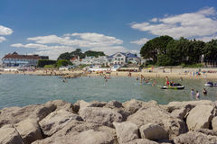 Los bancos de arena varan en la extremidad del puerto de Poole en Dorset Fotografía de archivo