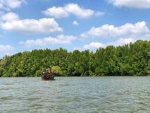 Los barcos de Longtail con los árboles del mangle a lo largo de la turquesa ponen verde el agua Fotografía de archivo libre de regalías