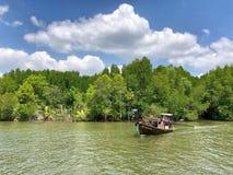 Los barcos de Longtail con los árboles del mangle a lo largo de la turquesa ponen verde el agua Fotos de archivo