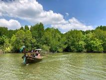 Los barcos de Longtail con los árboles del mangle a lo largo de la turquesa ponen verde el agua Imagenes de archivo