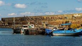 Los barcos de pesca amarraron en el puerto de Sozopol Imagen de archivo libre de regalías
