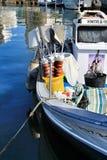 Los barcos de pesca amarraron en el puerto de Santa Pola, Alicante foto de archivo