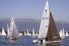 Los barcos de vela en el Bol D'Or compiten con en el lago Genenva Imagenes de archivo