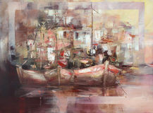 Los barcos en la isla se abrigan, pintura hecha a mano Imagen de archivo