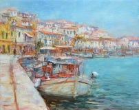Los barcos en la isla se abrigan, pintura hecha a mano Foto de archivo libre de regalías