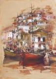 Los barcos en la isla se abrigan, pintura hecha a mano Foto de archivo