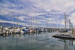 Los barcos marianos abrigan Santa Barbara California fotografía de archivo