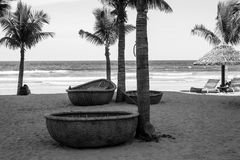 Los barcos y las palmeras vietnamitas redondos tradicionales en Danang varan Imagenes de archivo