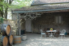 los barriles, el patio y el jardín decorativos de vino diseñan Fotos de archivo libres de regalías