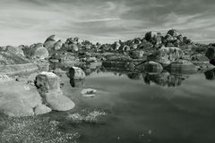 Los Barruecos en blanco y negro Stock Photography