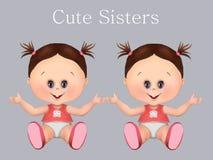 Los bebés lindos, hermanan muchachas gemelas y al bebé de los hermanos gemelos i salud y cuidado del bebé, tarjeta de felicita fotos de archivo libres de regalías