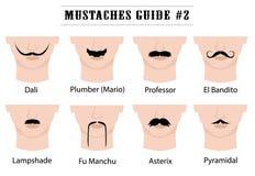 Los bigotes dirigen con nombres: Dali, fontanero Mario, profesor, EL Bandito, pantalla, Manchu de Fu, Asterix, piramidal libre illustration