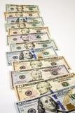 Los billetes de banco americanos cobran blanco aislado futuro del tiempo del crecimiento Imagen de archivo