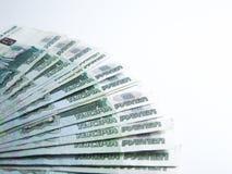 Los billetes de banco denominaron 1000 rublos Imágenes de archivo libres de regalías