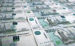 Los billetes de banco denominaron 1000 rublos Foto de archivo