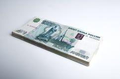 Los billetes de banco denominaron 1000 rublos Fotos de archivo libres de regalías