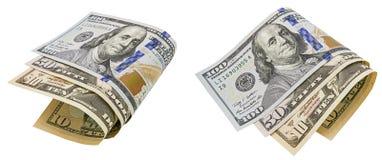 Los billetes de banco doblados rodaron el fondo blanco aislado collage Fotos de archivo libres de regalías