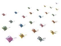 Los billetes de banco euro cons alas se están yendo volando Fotografía de archivo
